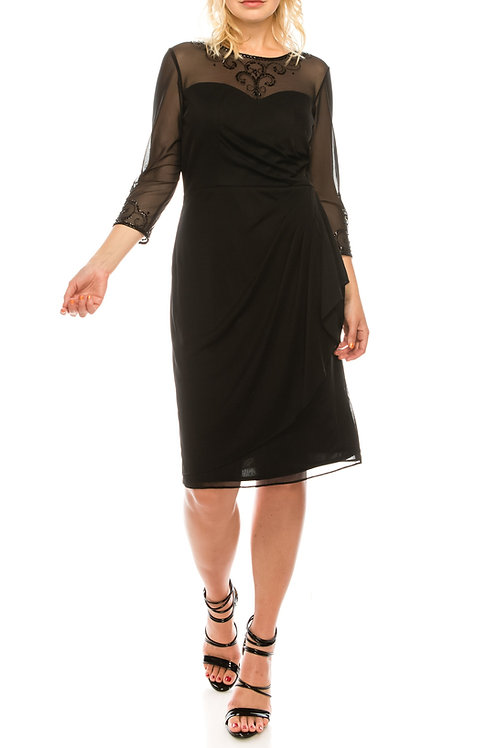 Alex Evenings Black Stretch Mesh Beaded Pleating Draped Dress