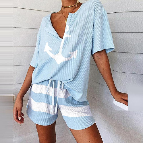 Summer 2Pcs Women Tracksuit Boat Anchor Print Shirt and Shorts Set
