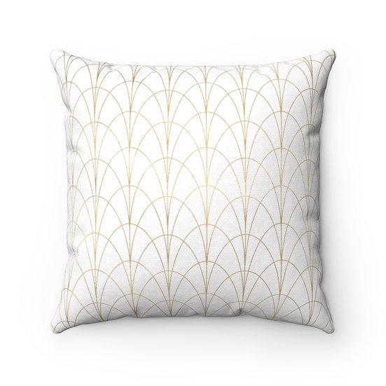 Gold Art Deco/white Spun Polyester Square Pillow