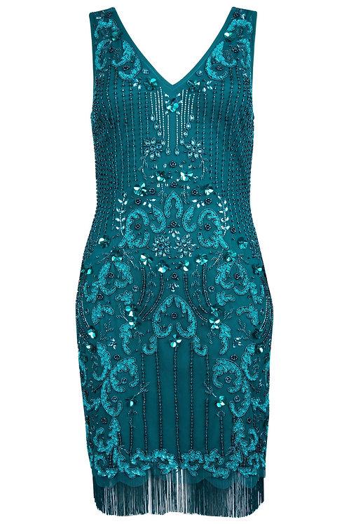 Aidan Mattox Beaded Fringe Cocktail Dress