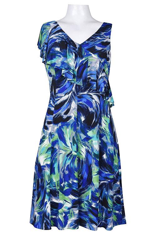 London Times  SIZE 4 Asymetrical Sleeve Multi Print Jersey Dress
