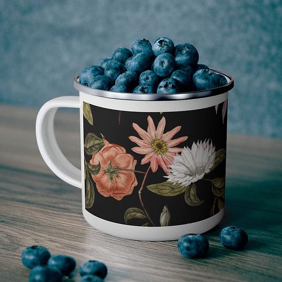 Dark Forest Flowers Enamel Camping Mug