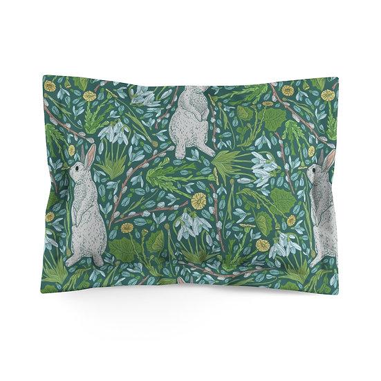 Bunnies in the Garden Microfiber Pillow Sham
