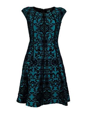 A sleek, elegant short A-line dress with demask floral pattern detail.