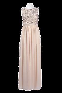 Adrianna Papell Boat Neck Sleeveless Embellished Bodice Ruched Chiffon