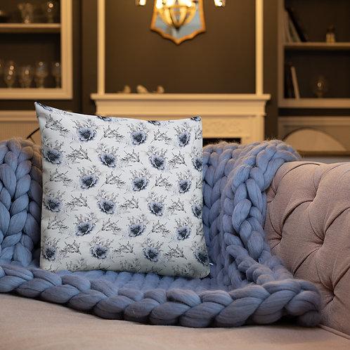 Blue Roses Premium Pillow