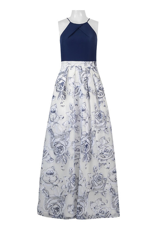 Aidan by Aidan Mattox Halter Pleated Solid Bodice Pleated Floral Crepe