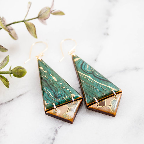 Japanese Double Triangle Earrings- Turquoise
