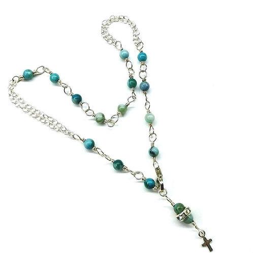 Adjustable Turquoise Cross Charm Sterling Silver Anklet Bracelet