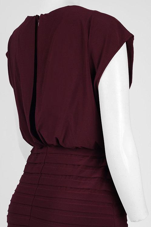 Adrianna Papell Day V-Neck Short Sleeve Elastic Waist Zipper Back