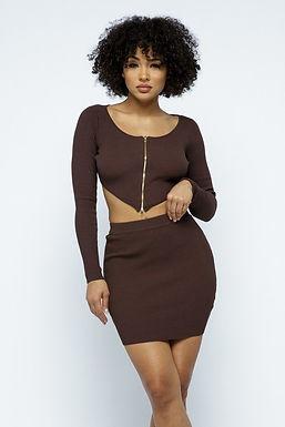 2 Way Zipper Mini Skirt Set