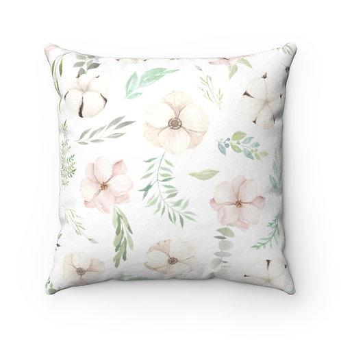 Leia Petals Faux Suede Square Pillow