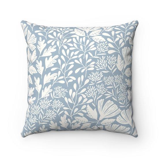 Light Blue Garden Spun Polyester Square Pillow