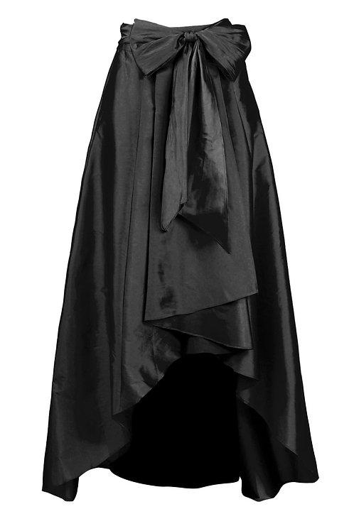 Adrianna Papell Mid Waist Tie Waist Pleated High Low Hem Tafetta
