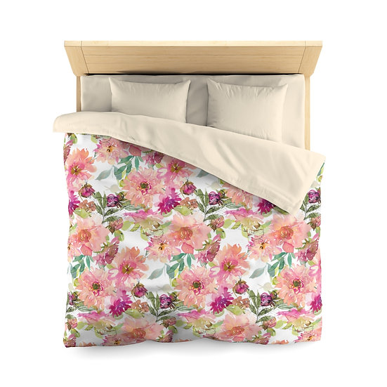 Peach Bouquet Microfiber Duvet Cover