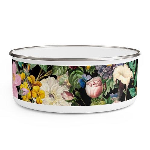 Dark Rose Garden Enamel Bowl