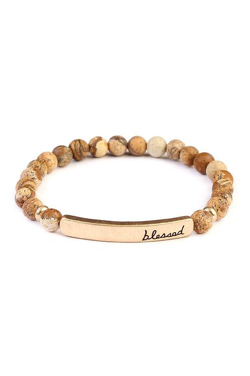"""83395 - """"Blessed"""" Bar Natural Stone Bracelet"""