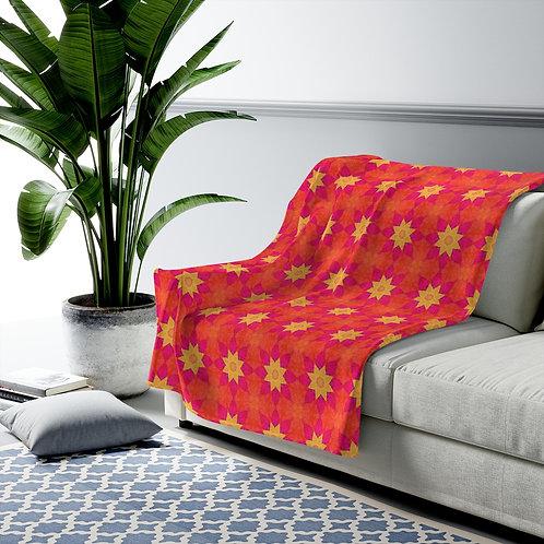 Marla Orange/Pink Squares Velveteen Plush Blanket
