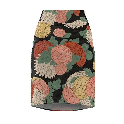 Flower Graphic  Pencil Skirt