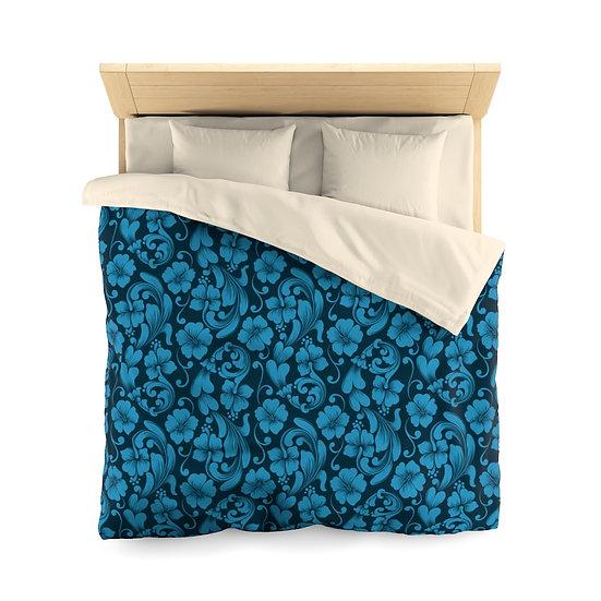 Blue Garden Microfiber Duvet Cover