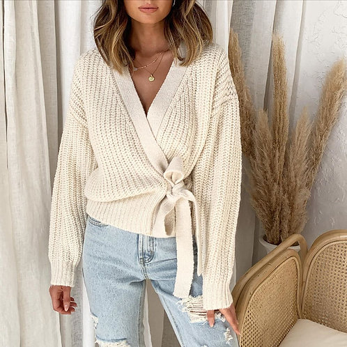 Casual V-neck Long Sleeve side Tie Sweater