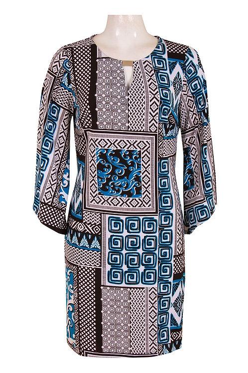 Angel Sleeve Keyhole Neckline Multi Print Jersey Dress. By ILE.
