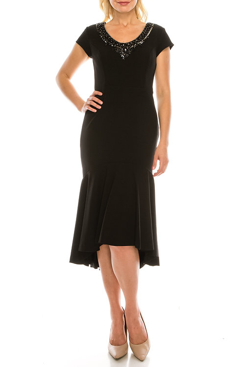 Aidan Mattox Black Beaded High Low Evening Midi Dress