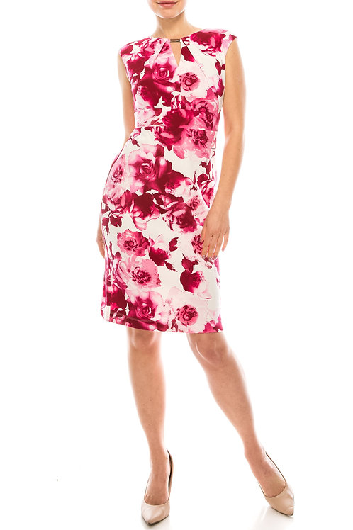Gabby Skye Ivory Hot Pink Floral Printed Sheath Dress with Neckline