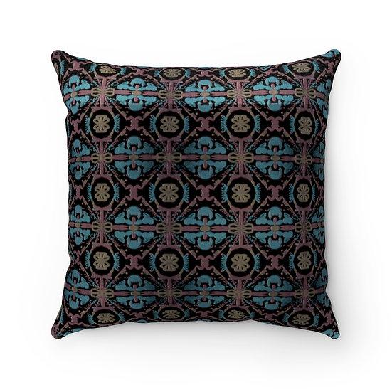 """"""" Moorish Design Faux Suede Square Pillow"""
