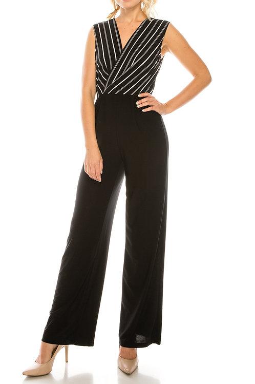 Bebe Black White Striped Jersey Jumpsuit