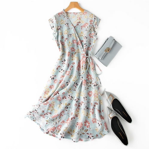 Floral Midi 100%Silk Print V neck Sashes Wrap Dress