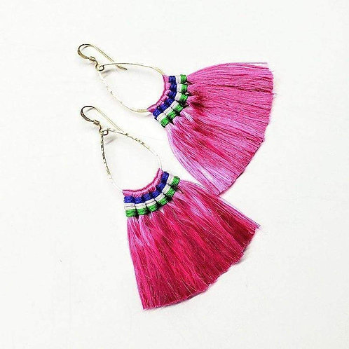 Hawaii Hula Skirt Fan Tassel Hoop Earrings