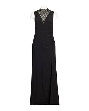 Adrianna Papell Mermaid Gown with Crystal Mock Neckline