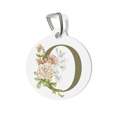 Personalized Floral Pet Tag - O