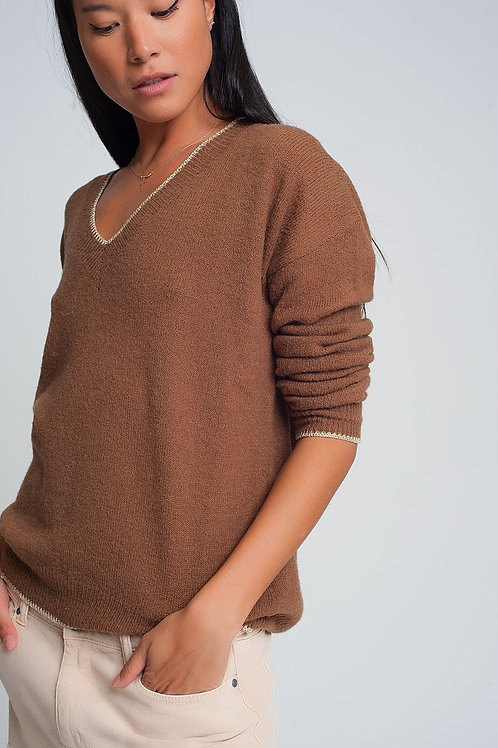 Brown Sweater With Long Sleeves  v Neck With Golden Hem