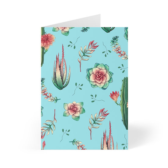 Desert Flower Collection Blue Greeting Cards (8 pcs)