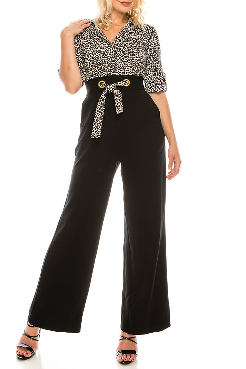 Shelby & Palmer Leopard Print & Black Crepe Collared Jumpsuit