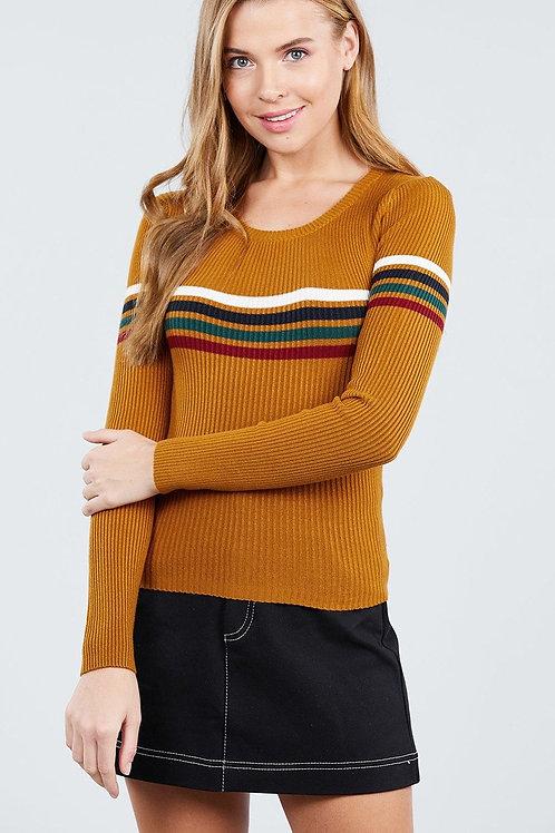 Camel Blend Striped Crop Sweater