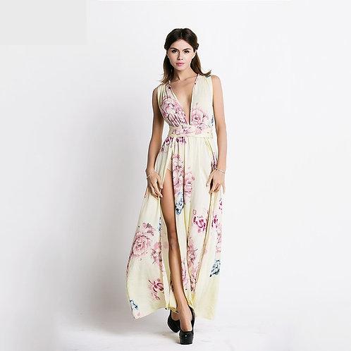 Beige Floral Print Maxi Dress