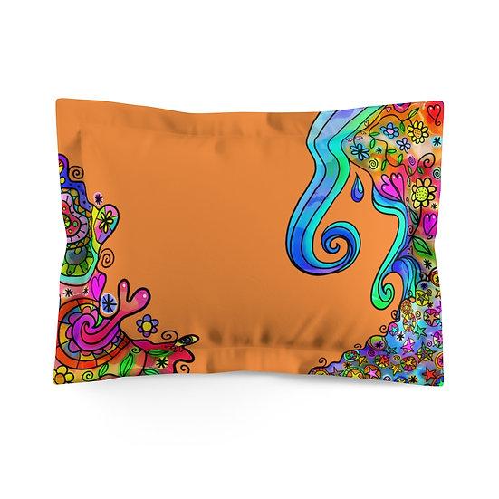 Fantasy Orange Blue Microfiber Pillow Sham