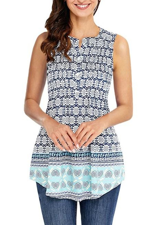 Bohemian Floral Print Ruched Tank Tops