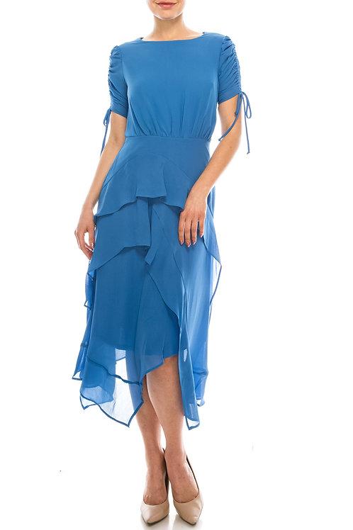 Maison Tara Perri Blue Crepe Chiffon Midi Ruffled Dress