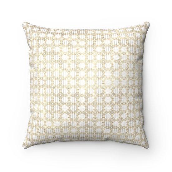 Gold Art Deco Circles/White Spun Polyester Square Pillow