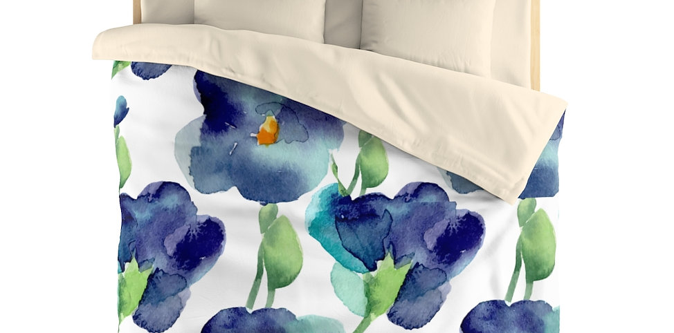 Blue Petunia Microfiber Duvet Cover