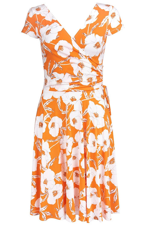 Maggy London Floral Print Cap Sleeve V-Neck A-Line Dress