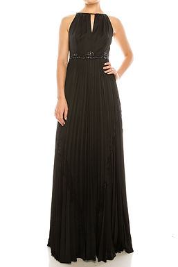 Adrianna Papell Halter Neck Pleated Keyhole Front Embellished Waist