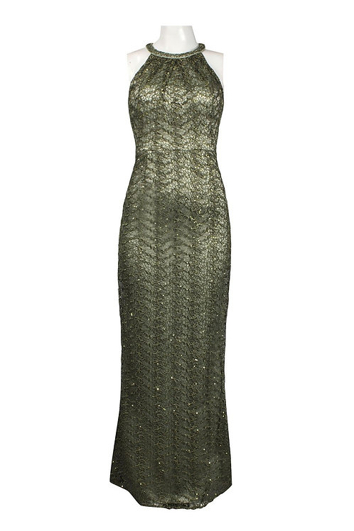 Adrianna Papell Halter Neck Beaded Lace Dress