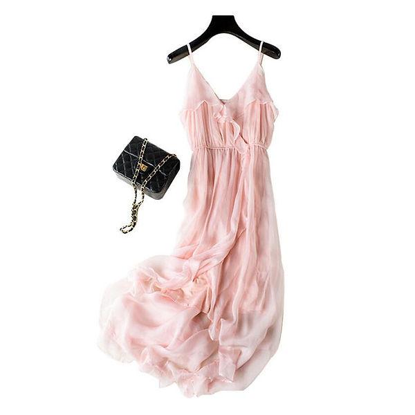 Silk-Dresses-Women-Elegant-Beach-Pink-Lo
