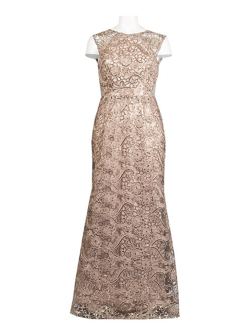 A shimmering, glamourous sleeveless long lace evening dress with sheer