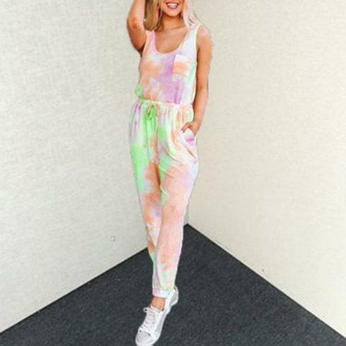 Summer Women Tie-Dye Print Casual Female Tracksuit Jumpsuit
